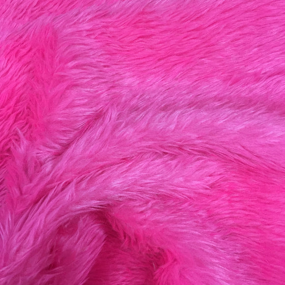 Short Pile Faux Fur - Hot Pink - Sold By Half Metre