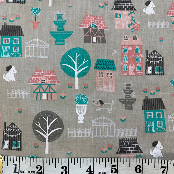 Polycotton Print - In The Dog House - Sold by Half Metre