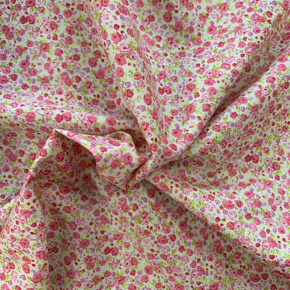 100% Cotton  - Gin Rose - Cream - Sold by Half Metre