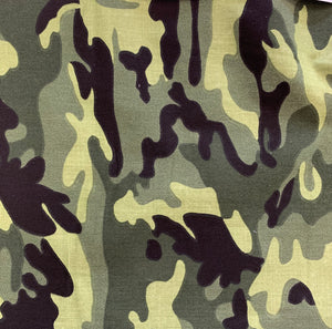 Polycotton Print - Camouflage - Forest -  Sold by Half Metre