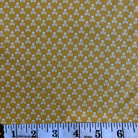 100% Cotton  - Mini Skull and Cross Bones - Mustard - Sold by Half Metre
