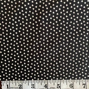 100% Cotton  - Mini Hearts - Black - Sold by Half Metre