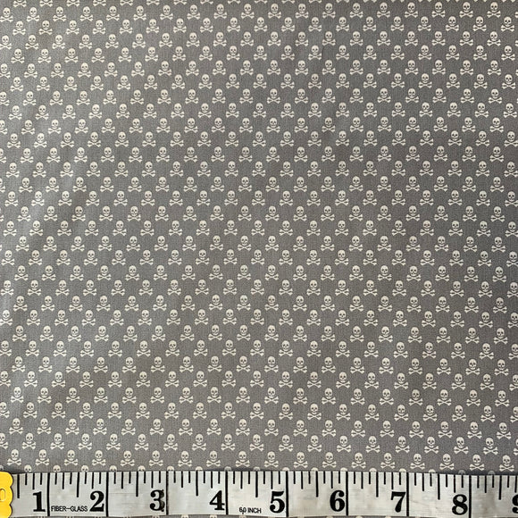 100% Cotton  - Mini Skull and Cross Bones - Grey - Sold by Half Metre