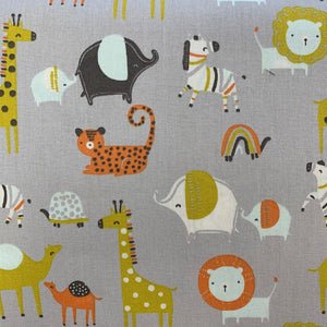 100% Cotton - Nursery Zoo Animals - Sold by Half Metre