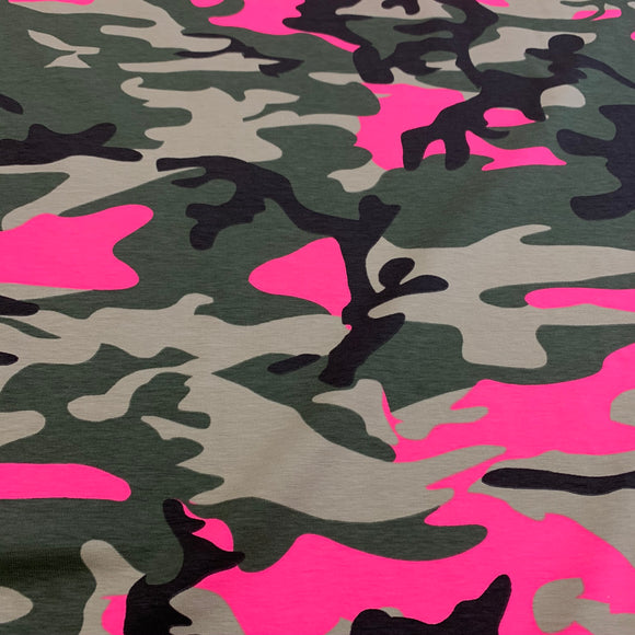 Cotton Jersey - Fluorescent Camouflage  - Sold By Half Metre