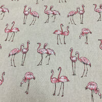 Linen look Flamingos