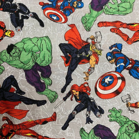 100% Cotton - Marvel - Heroes On Line Art - Sold By Half Metre