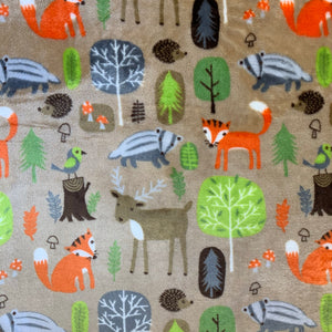 Super Soft Fleece - Woodland Animals - Sold By Half Metre