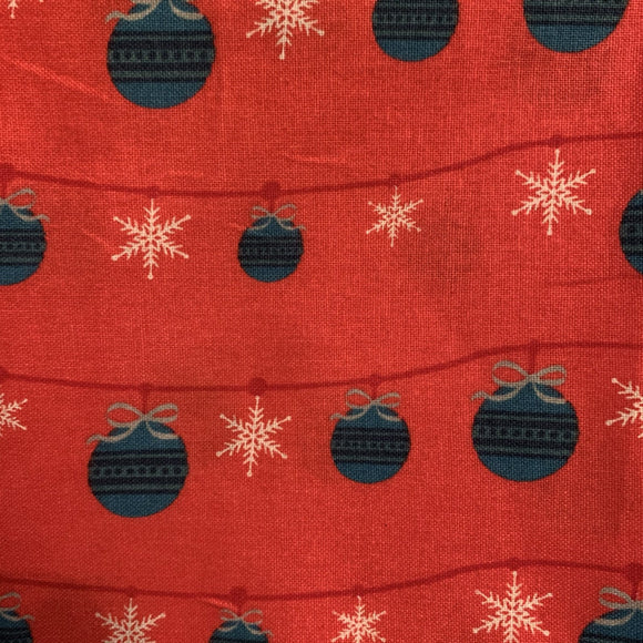 SALE 100% Cotton  - Baubles - Red - Sold by Half Metre