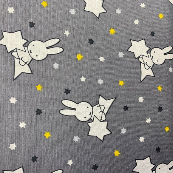 SALE - 100% Cotton - Miffy - Shooting Star Grey - Sold by Half Metre