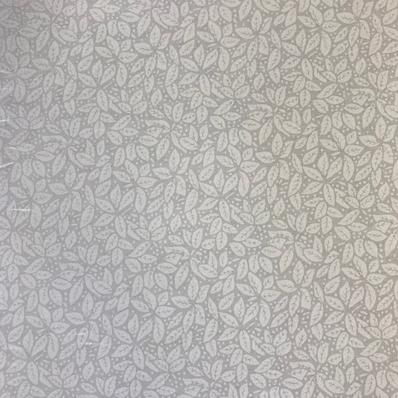 100% Cotton  - Leaves - White - Sold by Half Metre
