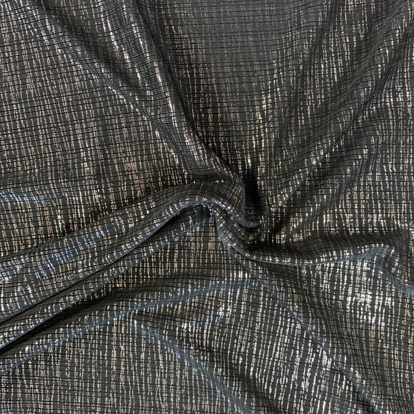 Polyester Rib Knit with Silver Lurex Design 16 -  Sold By Half Meter