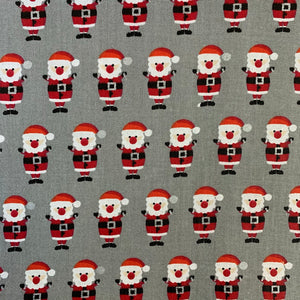 100% Cotton - Christmas - Santa - Grey - Sold by Half Metre