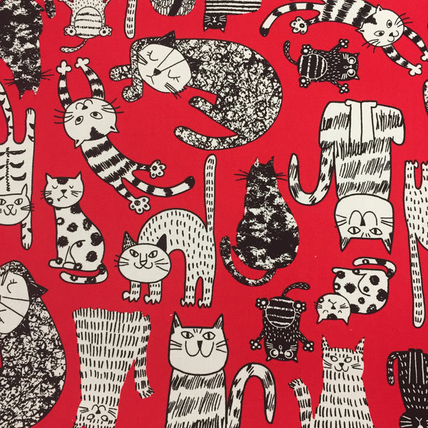 100% Cotton Poplin - Cartoon Cats - Red