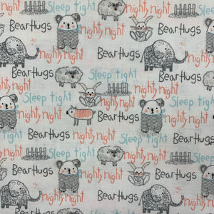 SALE 100% Cotton  - Bear Hugs - Sold by Half Metre
