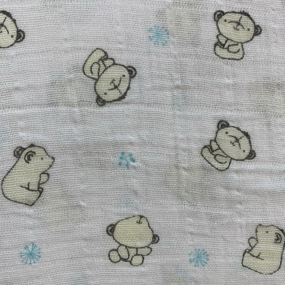 Double Gauze (Muslin) - Bear Hugs Blue - Sold by Half Meter