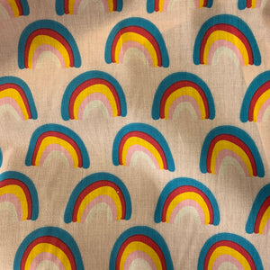 Polycotton Print  - Rainbow - Pale Pink - Sold by Half Metre