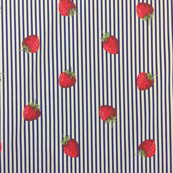 100% Cotton Poplin - Strawberry Stripes
