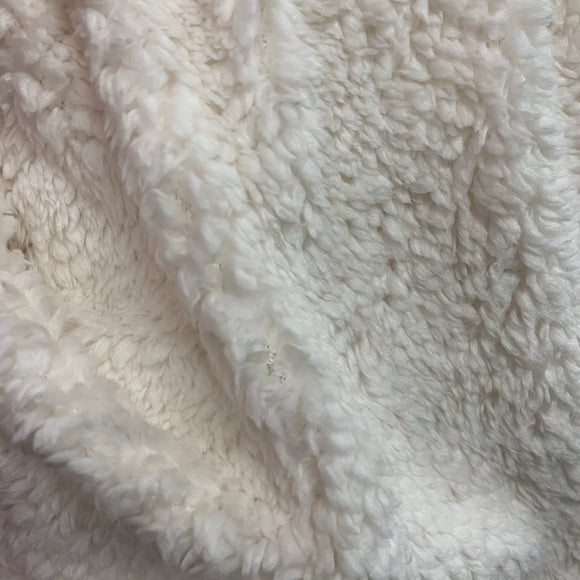 Super Soft Poodle Faux Fur - Silk  White ( Sherpa fleece ) - Sold By Half Metre