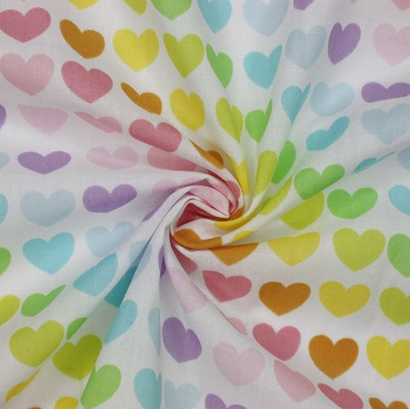 Polycotton Print - Hearts - Pastel - Sold by Half Metre