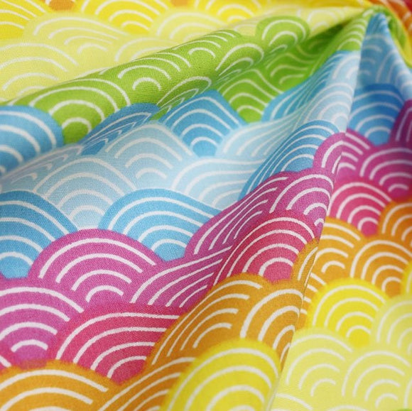 Polycotton Print - Rainbow Arches - Bright - Sold by Half Metre