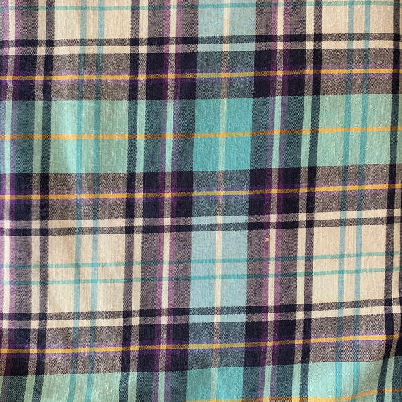 Turquoise and Purple Lightweight Polycotton Tartan - Sold by Half Metre