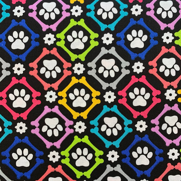 100% Cotton  - Dogs Love Paws and Bones - Sold by Half Metre