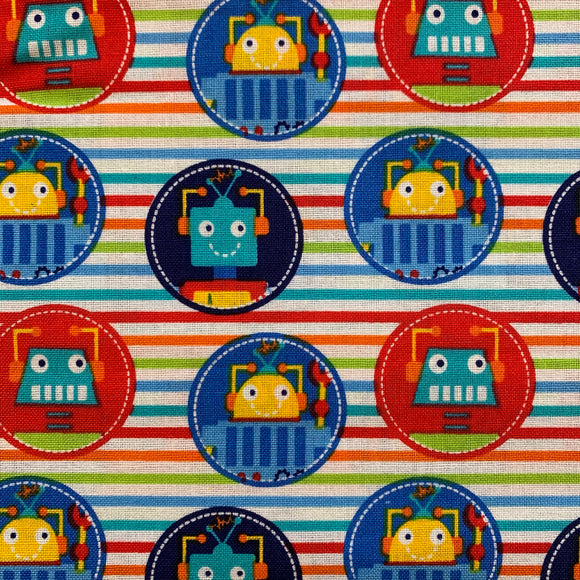 100% Cotton - Robot Dream Badges - Sold by Half Metre