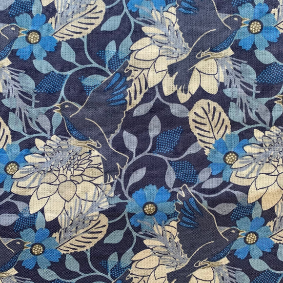 100% Cotton - Pretty Blue Floral and Birds  - Sold by Half Metre