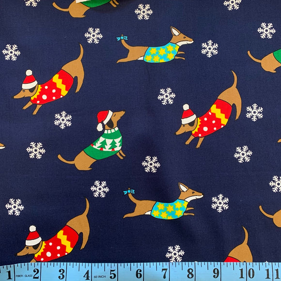 100% Cotton Christmas - Dashhounds - Navy Blue - Sold by Half Metre