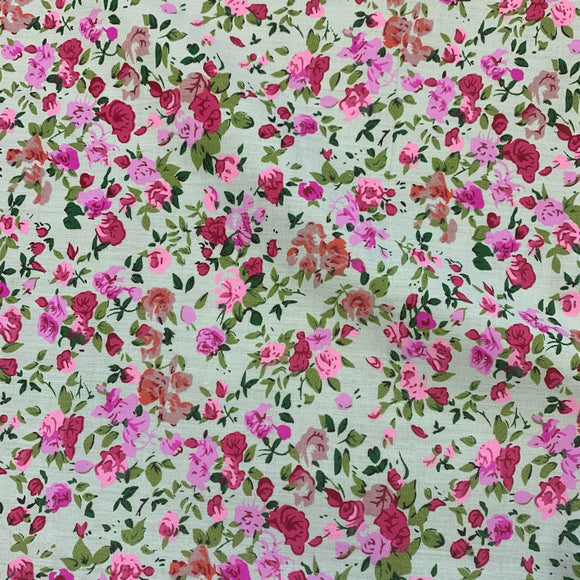 Polycotton Print - Mint and Lilac Floral Spray  - Sold by Half Metre