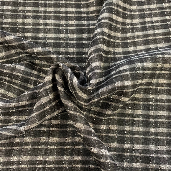 SALE - Viscose Mix - Grey and Black Check - Sold by Half Metre