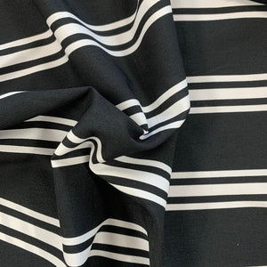 SALE - Viscose Mix - Black and Ivory Stripe - Sold by Half Metre