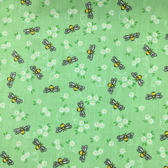 Polycotton Print Children's - Little Bee - Green - Sold by Half Metre