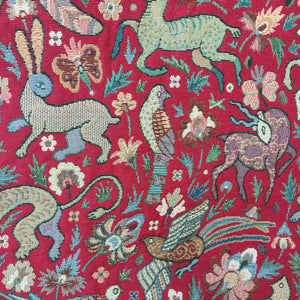 Tapestry - Bangalore - Red - Sold by Half Metre
