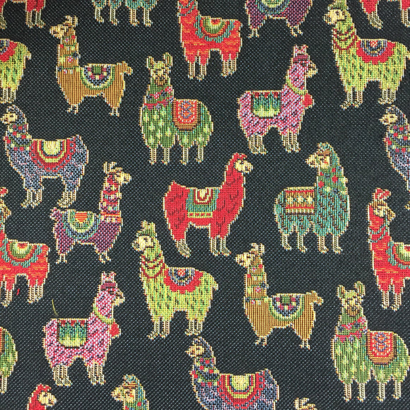 Tapestry - Llama - Mini - Black - Sold by Half Metre