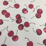 100% Cotton Poplin - Cherries - White