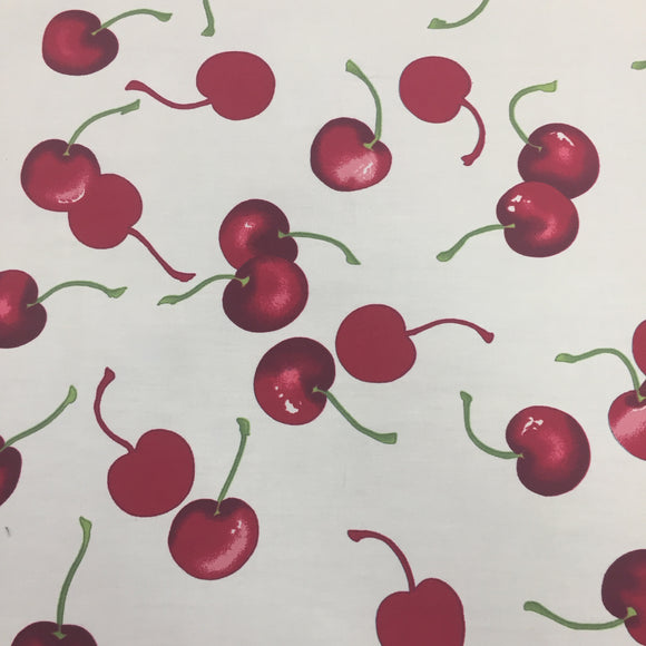 100% Cotton Poplin - Cherries - Ivory