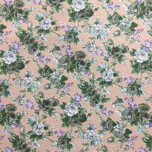 100% Cotton Poplin - Green Roses