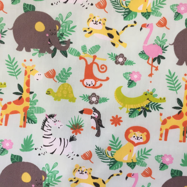 Polycotton Print Children's - Jungle Fun - Green