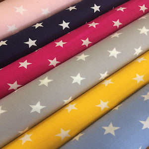 100% Cotton Poplin Stars - Select Colour - Sold by Half Metre