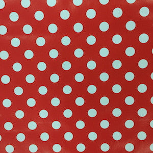 PVC Table Covering - Polka Dot Red