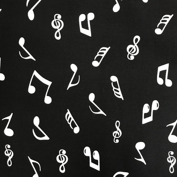 100% Cotton Poplin - Music Notes - Sold By Half Metre