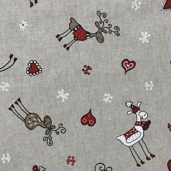 Remnant 30812 0.5m Linen look Christmas - Reindeer Friends 140cm Wide