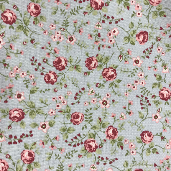 Polycotton Print - Blue Vintage Floral - Sold by Half Metre