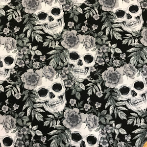 100% Cotton Poplin - Skulls and Roses - Charcoal