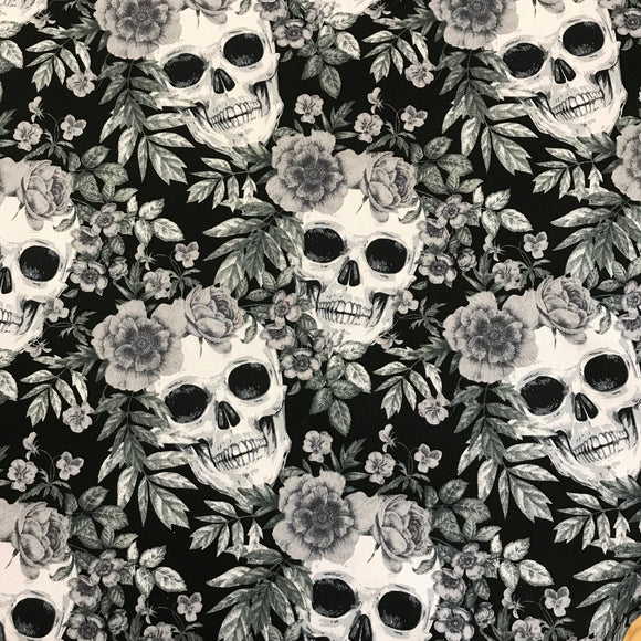 100% Cotton Poplin - Skulls and Roses - Charcoal - Sold By Half Metre