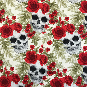 100% Cotton Poplin - Skulls and Roses - Ivory/Red - Sold By Half Metre