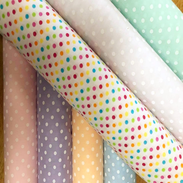 Polycotton Pastel Spots - Select Colour