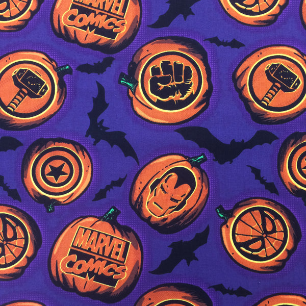 Halloween glow in the dark 100% Cotton - Marvel Pumpkin